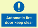 exclamation in blue circle Text: automatic fire door keep clear