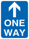 Arrow up one way sign Text: one way