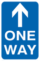 Arrow up for one way signs. Text: one way