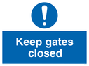 General mandatory symbol Text: Keep gate closed