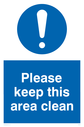 exclamation in circle Text: Please keep this area clean