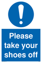 <p>general mandatory symbol in blue circle</p> Text: Please take your shoes off