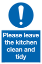 <p>general mandatory symbol in blue circle</p> Text: Please leave the kitchen clean and tidy