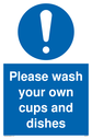 <p>general mandatory symbol in blue circle</p> Text: Please wash your own cups and dishes