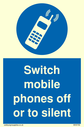 <p>Switch mobile phones off or to silent with symbol</p> Text: Switch mobile phones off or to silent