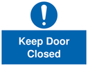 <p>Keep Door Closed with mandatory exclamation symbol</p> Text: Keep Door Closed