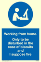 <p>Working from home. Only to be disturbed in the case of biscuits and I suppose fire with mandatory symbol</p> Text: Working from home. Only to be disturbed in the case of biscuits and I suppose fire