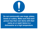 <p>Do not communally use mugs, plates, bowls</p> Text: