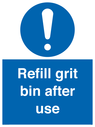 <p>Refill grit bin after use</p> Text: