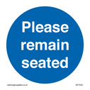 <p>Please remain seated</p> Text: