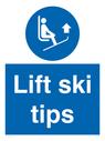 <p>Lift ski tips</p> Text: