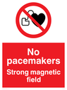 Strong magnetic field No pacemakers Text: Strong magnetic field No pacemakers
