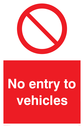 <p>general prohibition symbol in red circle</p> Text: No entry to vehicles