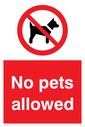 <p>no access prohibition symbol in red circle</p> Text: No pets allowed