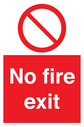 <p>general prohibition symbol in red circle</p> Text: No fire exit