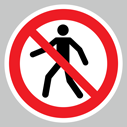 <p>No pedestrians symbol only floor graphics</p> Text: No pedestrians symbol only floor graphics