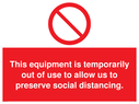 <p>This equipment is temporarily out of use to allow us to preserve social distancing.</p> Text: