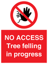 <p>NO ACCESS Tree felling in progress</p> Text: