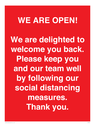 <p>WE ARE OPEN! We are delighted to welcome you back. Please keep you and our team well by followingour social distancing measures. Thank you.</p> Text:
