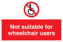 wheel chair symbol with prohibited symbol Text: not suitable for wheelchair users