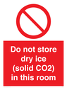 <p>Do not store dry ice (solid CO2) in this room</p> Text: