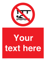 <p>Custom Do not swim in the vicinity of piers</p> Text: