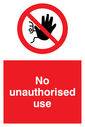 <p>no access prohibition symbol in red circle</p> Text: No unauthorised use