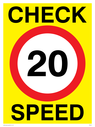 20mph symbol Text: check speed 20 20MPH or 20KPH