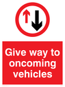 give way symbol Text: Give way to oncoming vehicles