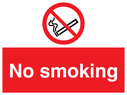 <p>No smoking symbol - cigarette & smoke in black with red prohibition circle & line through, white text on red background.</p> Text: no smoking