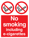 <p>Prohibition > no smoking including E-Cigarettes safety sign. no smoking symbol - cigarette & smoke in black with red prohibition circle & line through, white text on red background.</p> Text: No Smoking Including E-Cigarettes