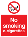 prohibition > no smoking e-cigarettes safety sign. no smoking symbol - cigarette & smoke in black with red prohibition circle & line through, white text on red background. Text: no smoking e-cigarettes