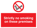 no smoking symbol Text: strictly no smoking on these premises