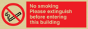 no smoking symbol Text: no smoking: please extinguish before entering this building
