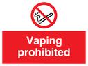 <p>Vaping prohibited</p> Text: vaping prohibited e-cigarette no smoking