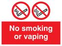 <p>No smoking or vaping</p> Text: No smoking or vaping no e-cigarettes
