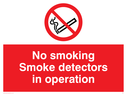 no smoking symbol Text: no smoking smoke detectors in operation