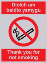 bi-lingual sign - welsh / english with no smoking symbol Text: Diolch am beidio ysmygu / Thank you for not smoking