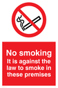 no smoking symbol & wording - to meet july 2007 smoking ban guidelines Text: no smoking. it is against the law to smoke in these premises