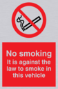 no smoking symbol & wording - to meet july 2007 smoking ban guidelines Text: no smoking. it is against the law to smoke in this vehicle