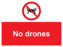 <p>No drones with drone prohibition symbol</p> Text: No drones