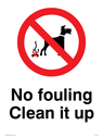 no dogs symbol, with black text on white background Text: No fouling Clean it up