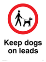 Dogs on lead symbol, with black text on white background Text: Keep dogs on leads