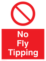 no fly tipping sign. general prohibition symbol, white text on red background Text: no fly tipping