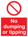 general prohibition symbol Text: No dumping or tipping