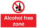 No alcohol prohibition symbol Text: Alcohol free zone