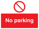 <p>No parking with prohibition symbol</p> Text: no parking