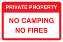 Private property text only sign Text: Private Property No camping No fires