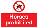 Horses prohibited symbol Text: Horses prohibited