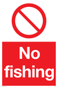 <p>general prohibition symbol in red circle</p> Text: No fishing